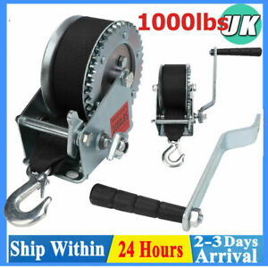 Manual Hand Winch 1000lbs Boat Trailer Caravan Jet Ski clothes line Webbing UK