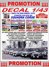 DECAL 1/43 SET RALLYE SAN REMO 1972 LANCIA FULVIA HF LANCIA TEAM (04)