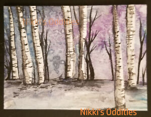 Aceo Birch Tree Forest Fall Landscape Original Watercolour Painting Nikki