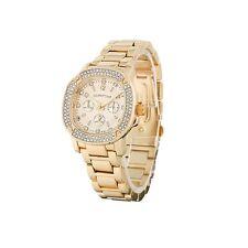 Luxury Men's Diamond Dial Quartz Gold Bracelet Watch Hiphop Bling Iced Out Wow A