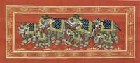 Handmade Rajasthani Miniature Painting Of Elephant Group Finest Artwork On Silk