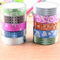 1/5/10pcs DIY Adhesive Glitter Washi Masking Tape Sticker Decoration Craft O3K3