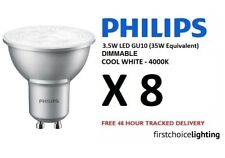 8 x Philips 3.5W (35W) Low Energy DIMMABLE GU10 LED Spot Lamps Bulbs Cool White