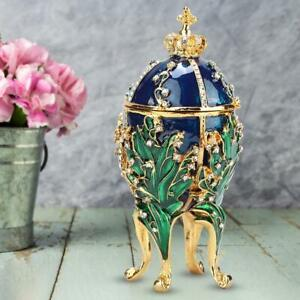 Exquisite Diamond Easter Egg Metal Crafts Jewelry Box Trinket Case Unique Gift