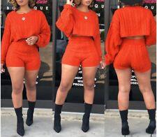 USA European Style Two Piece Set Casual Women Sweater Top+Short Jumpsuit #J3F