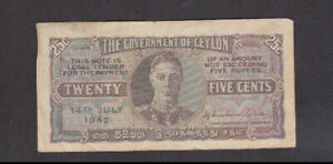 25 CENTS FINE BANKNOTE FROM BRITISH COLONY OF CEYLON 1942 PICK-44