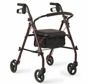 Steel Rollator Walker Bariatric Heavy Duty Wheels Mobility Folding Adult 350 lbs