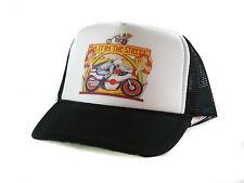 Vintage Do it in the Street motorcycle Trucker Hat mesh hat snapback black