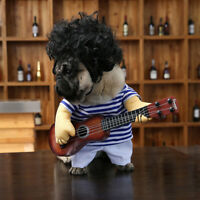 New Pet Guitar Player Dog Costume Dress Up Party Cosplay Clothes For Dogs Cats Q