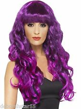 Long Green Purple Siren Wig Mermaid Witch Vampire Fancy Dress Costume Wig