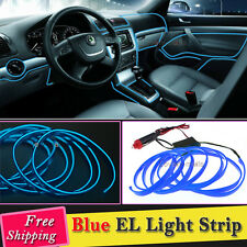 2M Blue EL Wire Car Interior Decor Fluorescent Neon Cold Strip light Fit Dodge