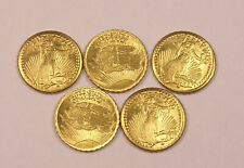 5 1907 Mini $20 Gold St. Gaudens Coins.....................Free Shipping