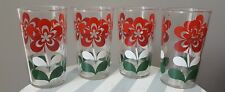 Vintage Tumbler Drinking Glass Juice Glasses Red White Green Flower Set of 4