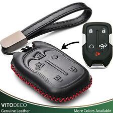 Vitodeco 5-Button Leather Smart Key Fob Case for 2019 Chevy Silverado 1500 2500