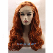 24'' Copper Red Color Lace Front Wig Synthetic Hair Fibe Long Wavy wigs