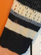2X New Crocheted Striped Long Cardigan Sweater Jacket Top Blue 18/20/22