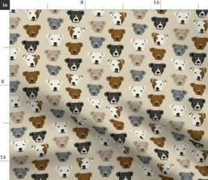 Pitbull Terrier, Dog, Beige, Tan, Pets, Spoonflower Fabric by the Yard