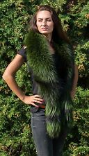 Saga Furs Emerald Green Silver Fox Fur Wrap Scarf Boa Stole Wristbands Cuffs
