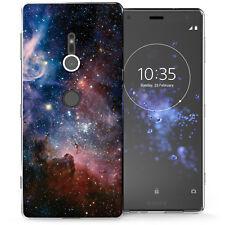 Sony Xperia XZ2 caso, constelaciones espacio Arte mejor Suave Cubierta De Gel De Silicona Azul