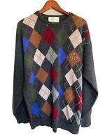 Quill's Woolen Market Ireland Pure Lambs Wool Argyle Men's Crew Golf Sweater XL