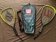 Wilson HyperStich and Ektelon Powerfan Nitro Racquetball Racquets w/ Wilson Bag