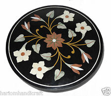 Black Marble Round Side Coffee Table Top Beautiful Inlay Mosaic Art Decor H771