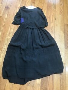 EDWARDIAN-1920s SILK FLAPPER DRESS w/ FLORAL JET BEADING For RE-PURPOSE $9.99 NR
