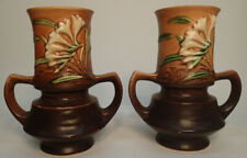 2 Vintage Roseville Pottery Brown Freesia Double Handled Vases 118-6