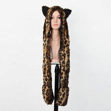 Unisex Leopard Hood Faux Fur Hat with Scarfs Mittens Paws Spirit 3 in 1 USA
