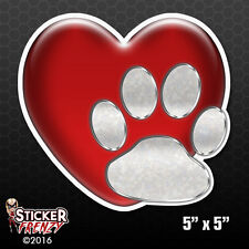 Heart and Dog Paw Love Bumper Sticker Car Decal Pets Adopt Rescue Vet Animal