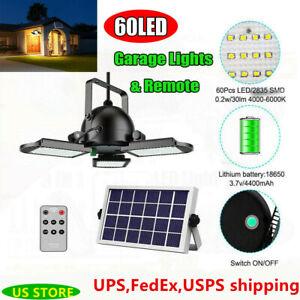 Remote 60LED Solar Powered Garage Lights Indoor Outdoor Gazebo Shop Barn Light