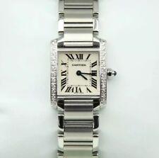 Cartier Tank Francaise Ladies Stainless Steel Watch - Custom Diamond Shoulders