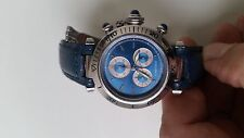Very Stylish Cartier de Pasha Chronograph Unisex Watch. Rare blue dial