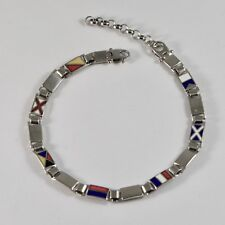 MEN'S BRACELET 925 SILVER RHODIUM WITH FLAGS NAUTICAL GLAZED TILES 20 CM