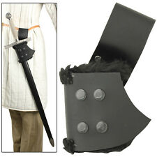 Medieval Renaissance Fur-Lined Right Handed Leather Sword Frog Black
