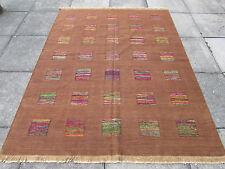 BELLA vecchio fatto a mano tradizionale TURCO ORIENTALE Marrone Lana Kilim Tappeto 208x165cm