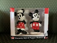 NEW Disney Mickey Mouse & Minnie Sculpted Ceramic Salt & Pepper Shakers