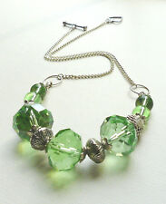 Collar NECKLACE Green Faceted Glass Briolette Bead Silver KCJ394