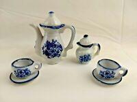 Vintage Pieces Porcelain Toy Tea Set Miniataure Blue Floral White China Pattern