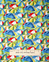 Beach Umbrella Toss Fabric ~ 100% Cotton By The Yard ~ South Sea Seaside Village