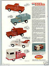 1963 PAPER AD 2 Sided Tonka Toy Truck Red Pick Up Mini Dump Tow Wrecker Camper