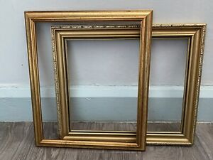 2x Vintage Wooden Gold Picture Frames Ornate Rococo Wood Art Frame No Glass