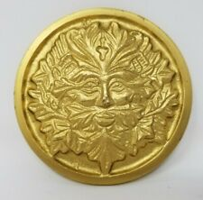 """Solid Brass GREEN MAN Altar Tile Wicca Gold Finish 3.5"""" Round"""