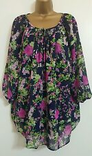 NEW Size 16 18 20 Bird & Rose Print Purple Navy Tunic Top Blouse