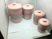 Vintage Baldelli Hand Made Italy Bowls Ceramic Pottery  Pink  Canister Set of 4