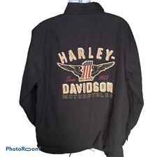 Harley Davidson Motorclothes 2XL Mens Black Shirt Jacket Snap Up Logo Back