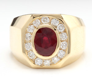 Heavy 4.60Ct Natural Ruby and Diamond 14K Solid Yellow Gold Men's Ring
