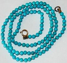 Vintage REAL SMALL 3.2mm TURQUOISE Bead 9K Gold CLASP FINE KNOTTED NECKLACE