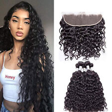 Water Wave 3Bundles With Ear To Ear Frontal Brazilian Human Hair Extensions Soft