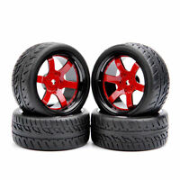 4X Run Flat Tires&Wheel Rim For RC 1/10 Scale On-Road Racing Model Car tyres